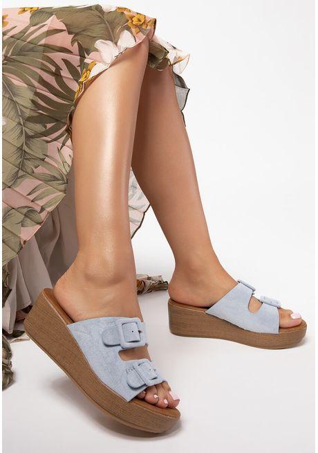 Papuci cu platforma Greta Albastri